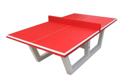 Table de ping pong en beton rouge